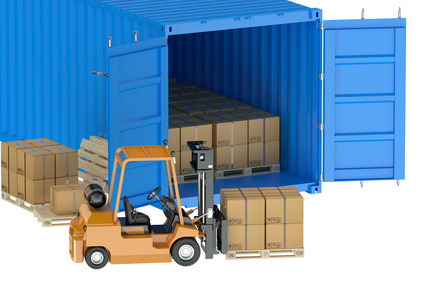 forklift loading / unloading container